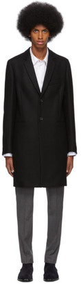 Paul Smith Black Wool Single-Breasted Overcoat