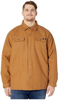 Dickies Big Tall Plaid Lined Shirt Jacket (Brown Duck) Men's Clothing