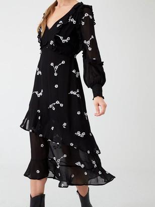 River Island Daisy Embroidered Frill Midi Dress- Black