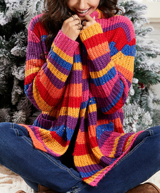 Suzanne Betro Weekend Women's Cardigans 101PINK/RED/BLUE/PURPLE - Pink & Red Stripe Shawl-Collar Cardigan - Women & Plus