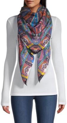 Etro Patchwork Print Cashmere & Silk Scarf