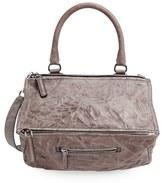 Givenchy 'Medium Pepe Pandora' Leather Satchel - Grey
