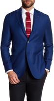 Michael Bastian Blue Woven Two Button Notch Lapel Wool Extra-Trim Fit Blazer