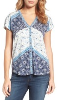 Lucky Brand Women's Bali Ditsy Print Top