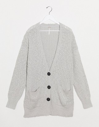 Free People v neck cardigan in light gray
