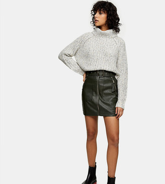 Topshop Petite faux leather motorcycle skirt in khaki