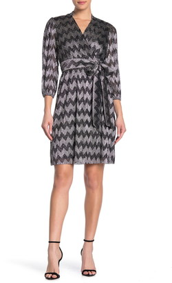 Eliza J Metallic Chevron Faux Wrap Dress