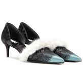 Balenciaga Fur-trimmed kitten-heel pumps