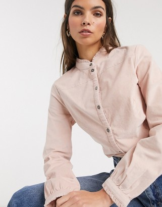 Esprit cord high neck blouse in pink