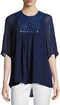 Tolani Heather Embroidered & Sequined Tunic, Navy, Plus Size