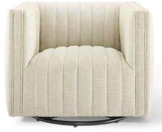 """Brayden Studioâ® Burlbaw Tufted Swivel 18"""" Armchair Brayden StudioA Upholstery Color: Beige"""