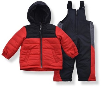 Arctic Quest Boy's Color Block Puffer Jacket and Ski Bib Snowsuit Set - Size 3T, Blue