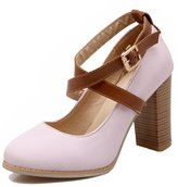 ENMAYER Women's Crossed Buckled Strap High heel Mary Jane Pumps for Spring and Summer 4.5 B(M) US