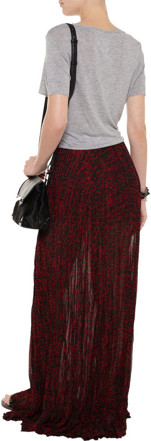 Enza Costa Printed crinkled chiffon maxi skirt