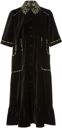 Anna Sui Ruffled-Hem Velveteen Coat Dress