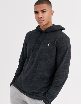Polo Ralph Lauren player logo hooded long sleeve top in black marl