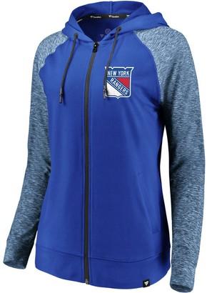 Möve Women's Fanatics Branded Blue/Heathered Blue New York Rangers Made 2 Raglan Full-Zip Hoodie