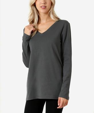 Ash Zenana Women's Tee Shirts  Gray Long-Sleeve V-Neck Tee - Women