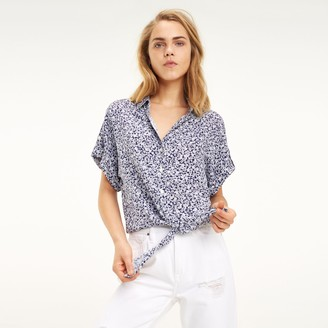 Tommy Hilfiger Cropped Tie-Waist Print Shirt