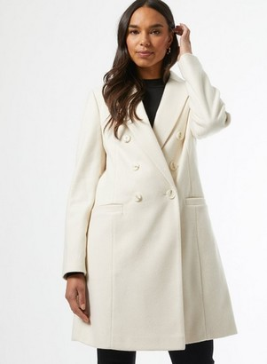 Dorothy Perkins Womens Ivory Double Breasted Crombie Coat