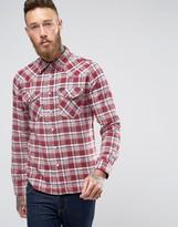 Lee Slim Check Flannel Western Shirt Red