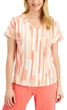 JM Collection Printed V-Neck T-Shirt, Created for Macy's