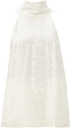 Galvan Moonlight High-neck Sequinned Chiffon Top - White