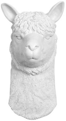 White Faux Taxidermy Faux Resin Llama Alpaca Head Wall Mount, White