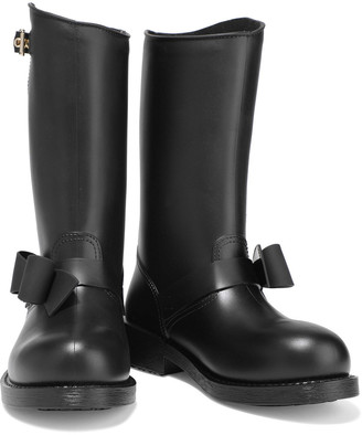 Red(V) Buckled Bow-embellished Rubber Rain Boots
