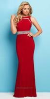 Mac Duggal Jeweled Waist Column Prom Dress