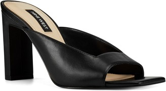Nine West Leather Square Toe Block Heel Sandals- Pyper