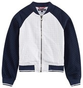 Tommy Hilfiger Navy and White Broderie Anglaise Bomber Jacket