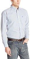 Wrangler Men's Classic Long Sleeve White/Blue/Orange Shirt