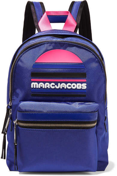 Marc Jacobs Rubber-appliquéd Leather-trimmed Shell Backpack - Blue