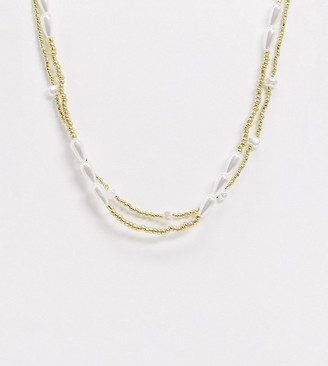 ASOS DESIGN Curve pack of 2 necklaces with gold beads and faux pearls