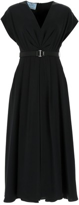 Prada Belted V-Neck Midi Dress