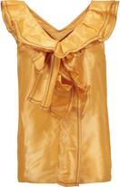 Oscar de la Renta Ruffled silk-lam&eacute top