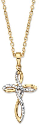 PalmBeach Jewelry Gold-Plated Looped Cross Pendant, Diamond Accent with 18 inch Chain