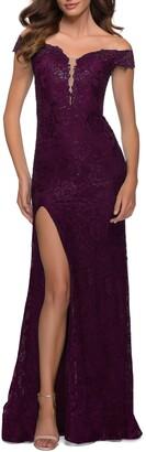 La Femme Off the Shoulder Stretch Sparkle Lace Mermaid Gown