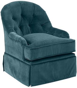 One Kings Lane Marlowe Swivel Club Chair - Teal Velvet