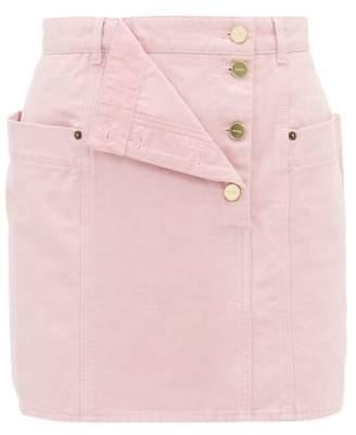 Jacquemus Nimes Draped-panel Denim Mini Skirt - Womens - Pink