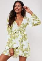 Missguided White Floral Print Frill Plunge Mini Dress
