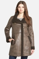 Ellen Tracy Asymmetrical Zip Faux Shearling Coat