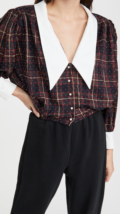Sister Jane Tempo Check Cropped Blouse