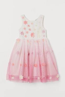 H&M Appliqued Tulle Dress