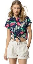 Tommy Hilfiger Final Sale- Hibiscus Tie-Waist Shirt