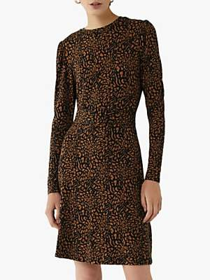 Warehouse Animal Print Belted Midi Dress, Camel