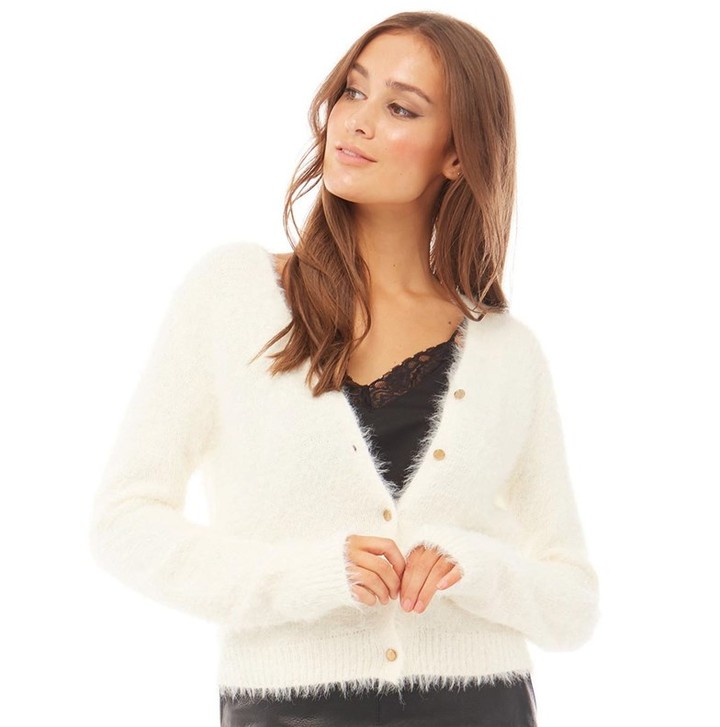 Womens Hula Fluffy Knit Button Cardi Cream
