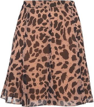 Whistles Brushed Cheetah Flippy Skirt