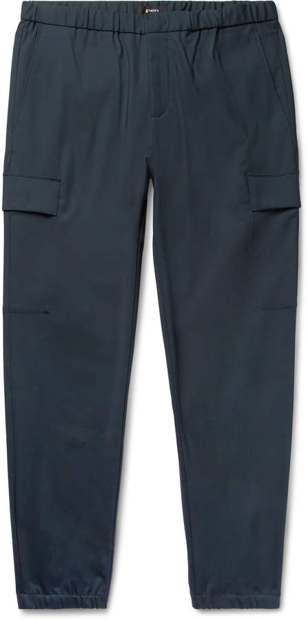 Theory Navy Slim-Fit Tapered Stretch Wool-Blend Trousers